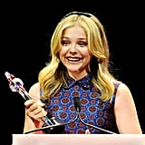 Chloe Moretz accepted the award for female star of tomorrow at the CinemaCon awards ceremony in Las Vegas.
