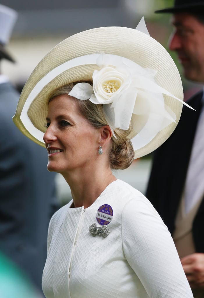 A wide-brimmed cream Jane Taylor number for Sophie at Ascot, 2014.