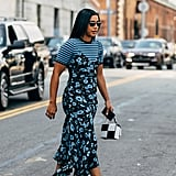 Hannah Bronfman shows us the power of print mixing in her floral slip and chunky platforms.