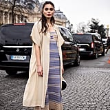 Wear a striped dress with a simple duster on top.