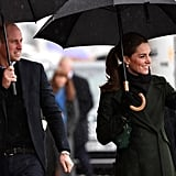 March: Kate and Will braved the rain in Blackpool.