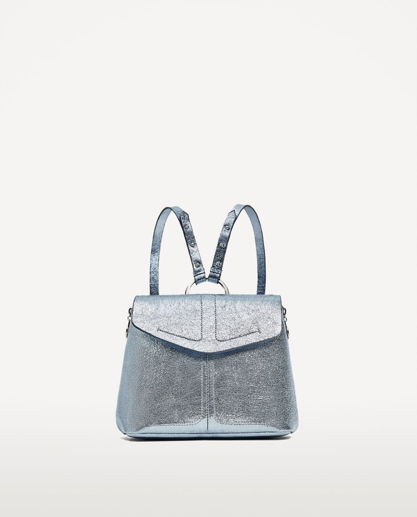 Metallic Backpack With Ring