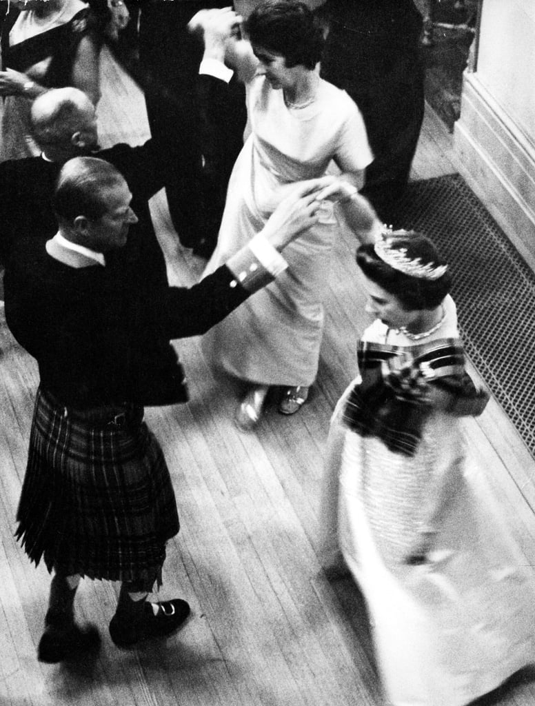 The Queen and Prince Philip at the Ghillies Ball at Balmoral in January 1972