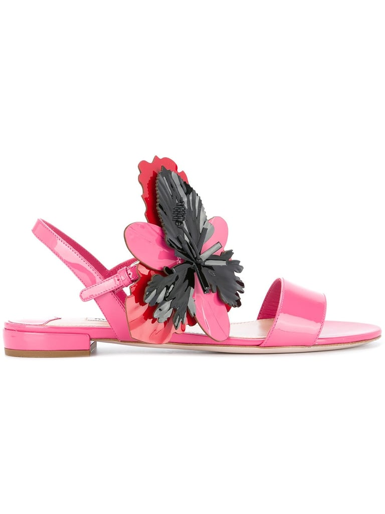 Miu Miu Flower Appliqué Sandals