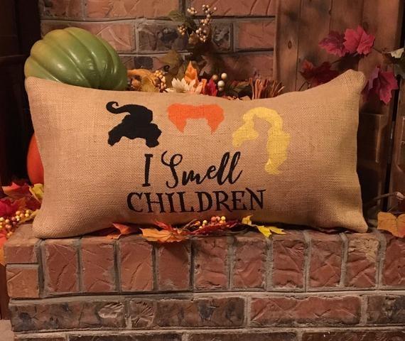 """I Smell Children"" Burlap Pillow"