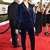 "For the 2017 SAG Awards, the actress chose a velvet Altuzarra pantsuit. She revealed that she had ""promised [herself she'd] wear a suit to every awards show"" in order to send a message that women shouldn't have to follow societal norms when it comes to dressing."