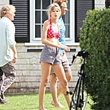 Taylor Swift got into a bikini in Hyannis to visit boyfriend Conor Kennedy.