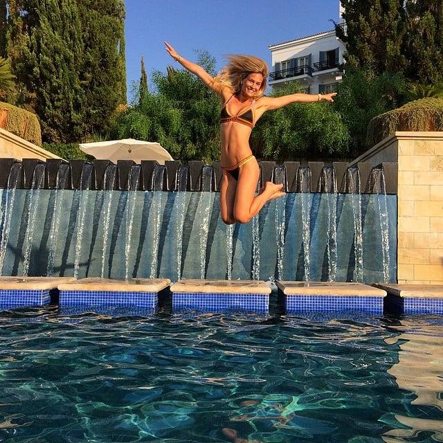 Bar Refaeli had a blast taking jumping pictures in her bikini.  Source: Instagram user barrefaeli