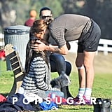 Zoe Saldana kissed her husband, Marco Perego, during a soccer game in LA.