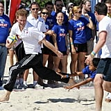 Harry played rugby on the beach during his tour of Brazil in March 2012.