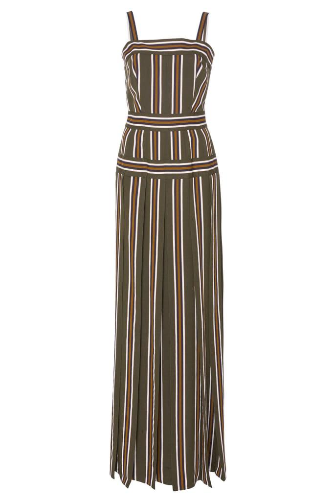 Martin Grant Pleated Stripe Long Dress