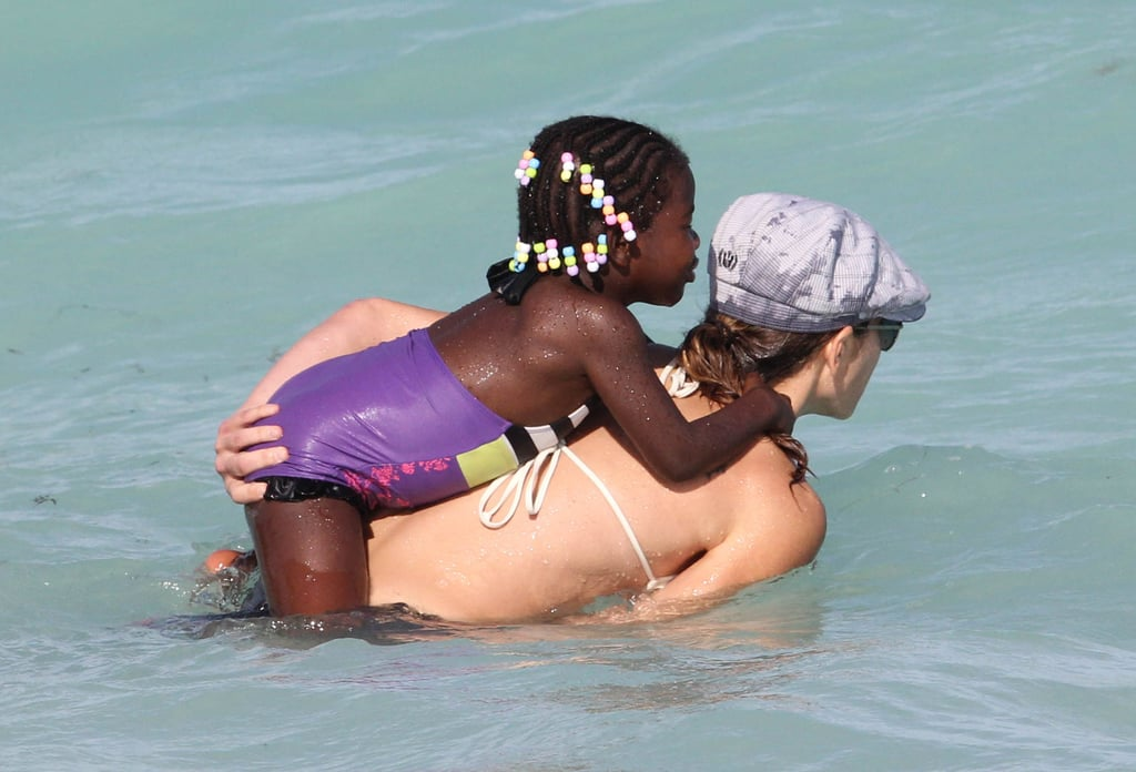 Jillian Michaels held on to her daughter while swimming.