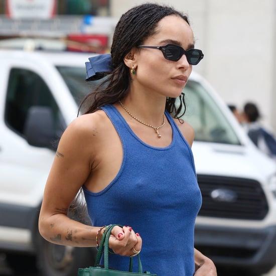 Zoë Kravitz Wears a Green Telfar Bag and Slip Skirt in NYC