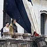 Anne Hathaway joined Hugh Jackman on a balcony.