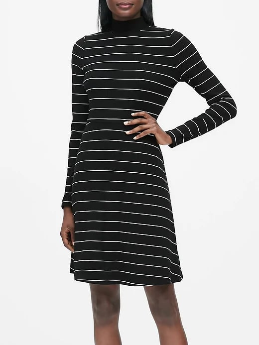 Ribbed Mock-Neck Mini Dress