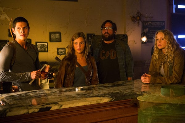 JD Pardo as Nate, Tracy Spiridakos as Charlie, Zak Orth as Aaron, and Anna Lise Phillips as Maggie on Revolution. Photo courtesy of NBC