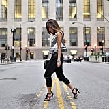 A Peplum Top, Black Pants, and Heeled Sandals