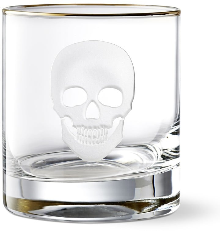 Williams Sonoma Halloween Skull Old-Fashioned Glass