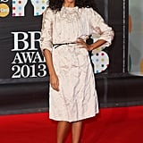 Corinne Bailey Rae wore Spring 2013 Miu Miu at the Brit Awards in London.