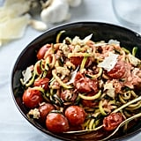 Courgette Noodles With Cherry Tomatoes and Garlic Cream Sauce