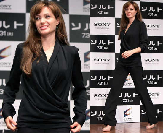 Pictures of Angelina Jolie at Salt Press Conference, Angelina Jolie Is Now On Twitter