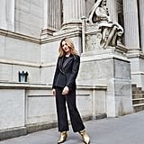 Affordable & Festive Outfit Formula: Jumpsuit + Blazer + Boots + Bag + Jewelry