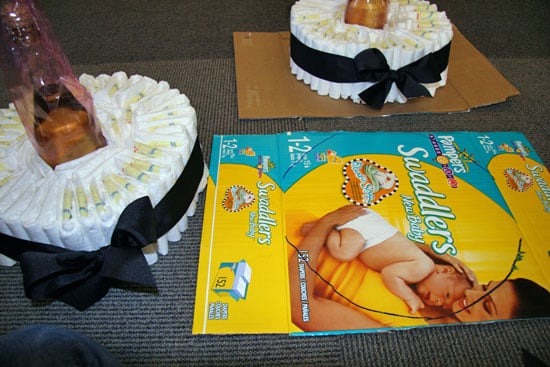 Cutting Out Cake Platters From the Diaper Box