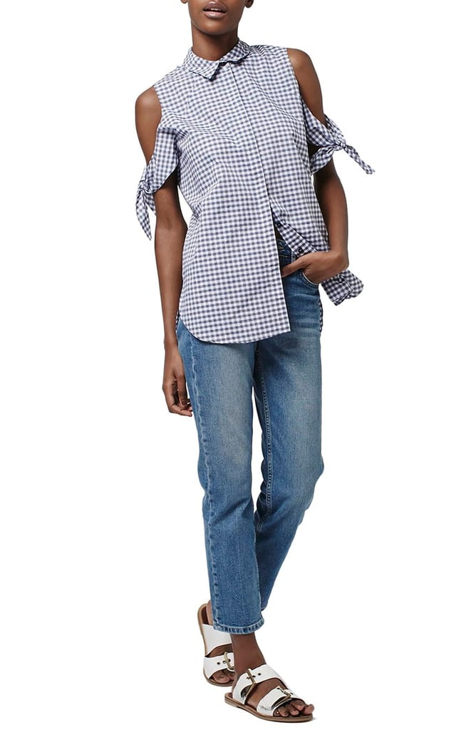 Topshop Gingham Cotton Blend Cold Shoulder Shirt ($65)