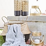 Just because you're outside doesn't mean you can't use stylish storage like woven baskets. Textured, organic accents enrich the backyard while also being functional.