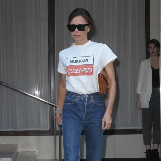 Victoria Beckham Wearing Fashion Emergency T-Shirt