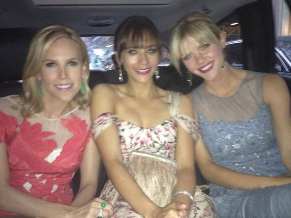 Tory Burch rode in style with Rashida Jones and Brooklyn Decker. Source: Twitter User iamrashidajones