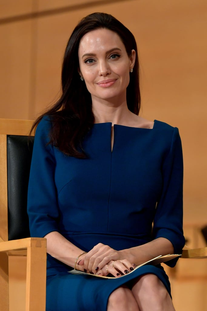 "Angelina Jolie is on a roll. After giving her first lecture at the London School of Economics and visiting Buckingham Palace on Tuesday, Angelina delivered an impassioned speech at the annual lecture of the Sergio Vieira de Mello Foundation at the United Nations office in Geneva, Switzerland. The 41-year-old philanthropist, who also serves as the UN Refugee Agency's special envoy, did not refer directly to Donald Trump in her speech, but she did urge leaders to reject the politics of exclusion and embrace their responsibilities and called her self a ""proud American"" and ""internationalist."" Check out a few excerpts from her speech below, and read it in full on Vanity Fair.  ""We are here in memory of Sergio Vieira de Mello and the 21 other men and women, most of them UN workers, who died with him in the bombing of the UN Headquarters in Baghdad in August 2003.  We remember all those who died, to acknowledge each valuable life cut short, and the families who share, even today, in their sacrifice.   We also remember them for the power of the example they set: brave individuals from 11 different countries, working to help Iraqi people, at the direction of the United Nations Security Council, and on behalf of us all.   This is sometimes forgotten: that in serving under the UN flag they died in our names, as our representatives.    At their head was Sergio Vieira de Mello, a man of extraordinary grace and ability, as so many who knew him testify.    A man who gave 30 years to the United Nations, rising from a field officer to High Commissioner for Human Rights and Special Representative to Iraq.   From Bangladesh and Bosnia to South Sudan to East Timor, he spent the majority of his career in the field, working alongside people forced from their homes by war, and assisting them with his skill as a diplomat and negotiator.    Perhaps the greatest testament to his contribution, is how much his advice would be valued today."""