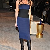 Victoria Beckham wore leather leg warmers to WWD's Apparel and Retail CEO Summit at NYC's Plaza Hotel.
