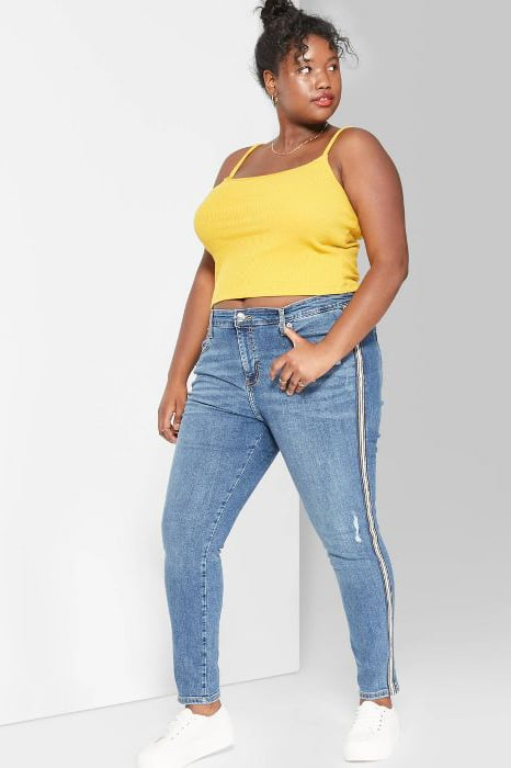 Wild Fable Plus-Size High-Rise Distressed Skinny Jeans With Side Tape