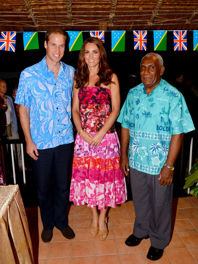 Kate Middleton was gifted this beautiful pink batik-print strapless dress upon arriving to the Solomon Islands — it totally embodies the fun vibe of island style.