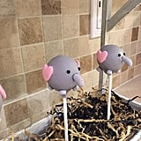 Elephant Cake Pops With Pink Ears