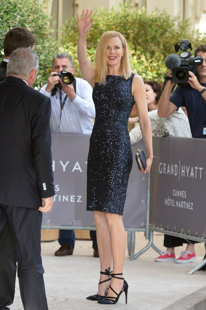 The star juror made one of her first appearances in a sparkly Dior shift and spiked heels tied at the ankles.