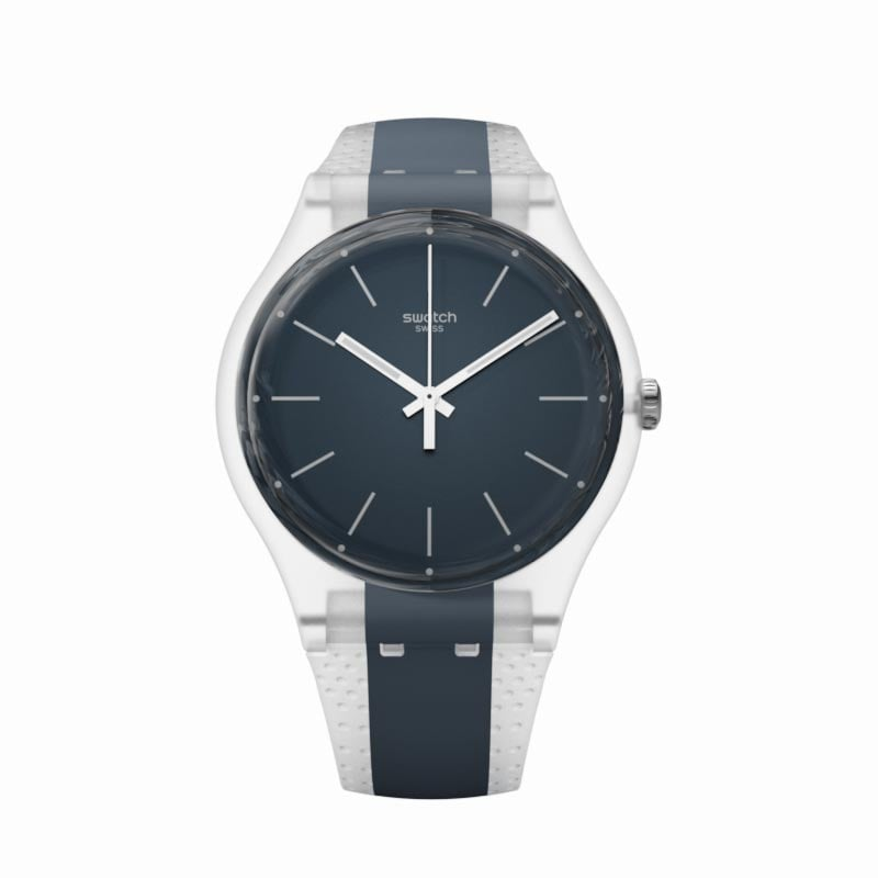 The Swatch Greyline Watch ($75) is for the sporty guy who likes to keep it sleek and simple.