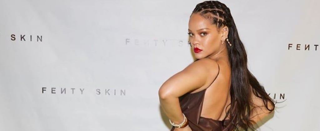 Rihanna's Brown Leather Dress at Her Fenty Skin Launch