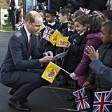 William stopped to check out letters from a group of kids at a primary school in February 2017.