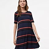 LOFT Striped Short-Sleeve Swing Dress