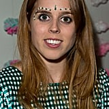 Princess Beatrice got into the spirit of things with her makeup at the Saloni Holi colour cocktail party in London on Wednesday.