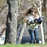 Jennifer Garner played with her son, Samuel, at the park in LA on Saturday.