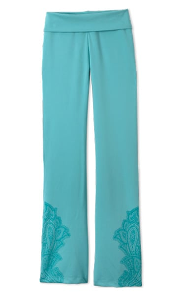 Prana is a yoga brand that's getting a little more love these days for good reason. All of its pieces have a funky vibe and are made from fabrics that feel like second skin. I'm a huge fan of these turquoise Mahdia Isis Pants ($75). The fold-over waistband is something I usually look for, and there's a back-seam calf slit that allows for easy ventilation. These pants are a great long option for Ashtanga or Bikram.