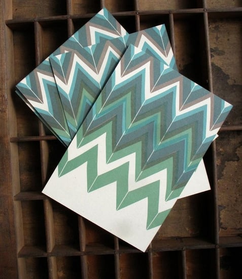 Green Chevron Pattern Letterpress Postcard ($3)
