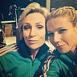 Gwyneth got together with Jane Lynch on the set of Glee. Source: Instagram user gwynethpaltrow