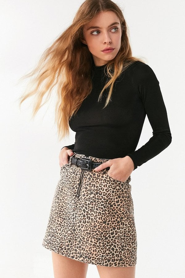 BDG Leopard Denim Zip Mini Skirt