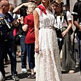 Style a lace maxi with white mules.