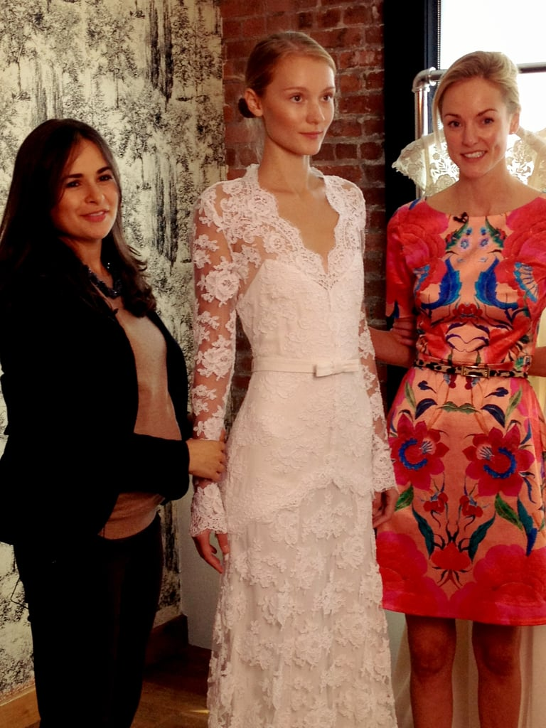 Noria and Madeleine show the Viva dress, a romantic long-sleeved lace gown that drew comparisons to Kate Middleton's wedding dress.