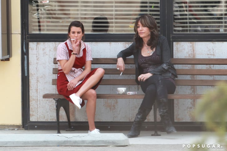 And here she is with Katey Sagal! Definitely shooting a scene.